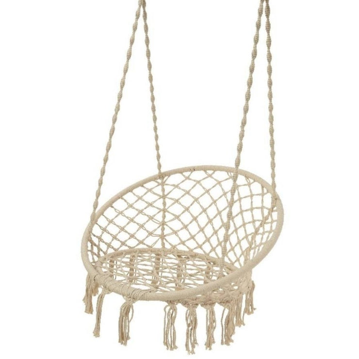 Cream Macrame Hanging Chair