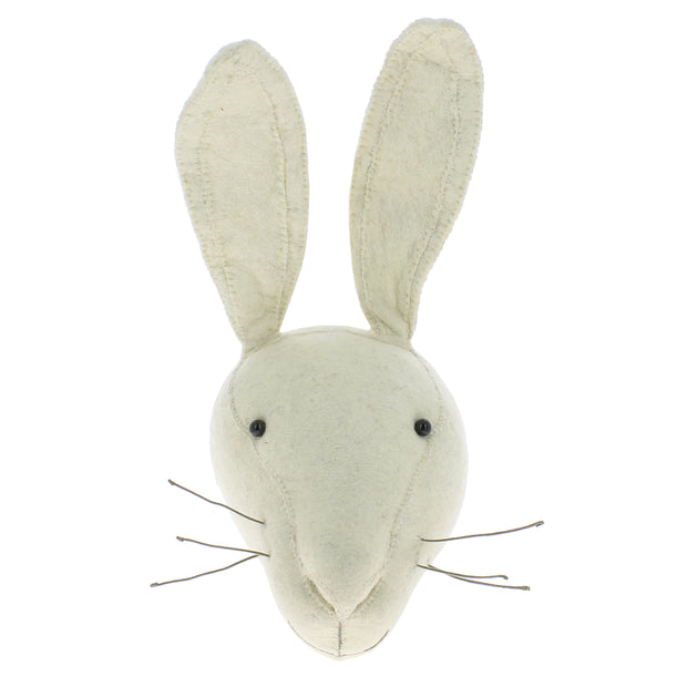 Ivory Rabbit Felt Wall Head