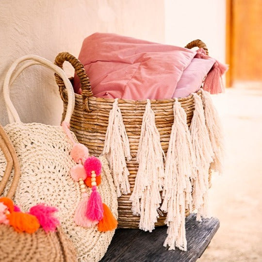 Raffia Basket With Tassels