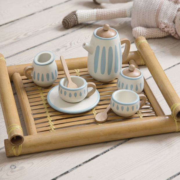 White/Dusty Teal Wooden Tea Set
