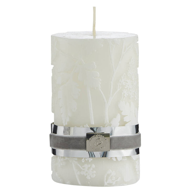 Etched Floral Candle - Ivory