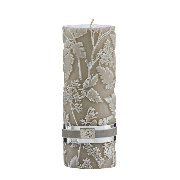 Etched Floral Candle - Taupe