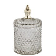 Pale Grey & Gold Glass Jar - PRE ORDER