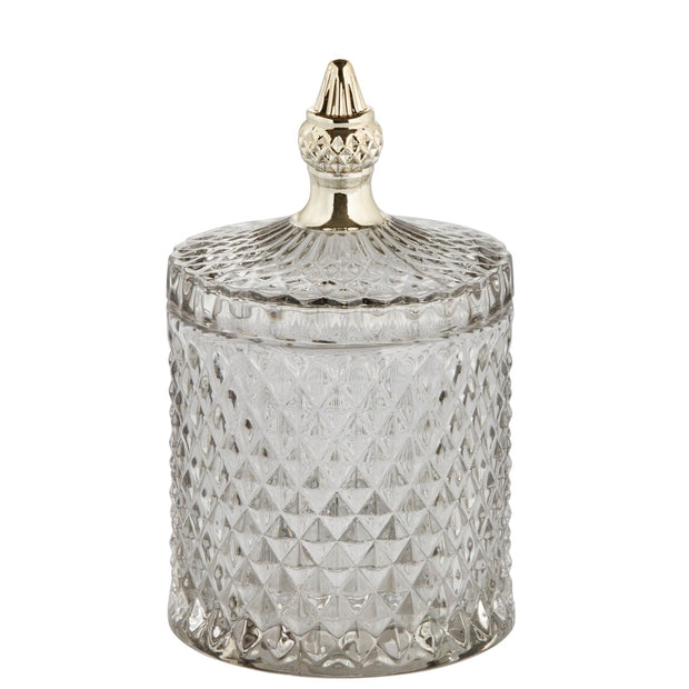 Pale Grey & Gold Glass Jar