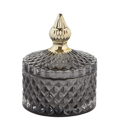Charcoal Grey & Gold Glass Jar