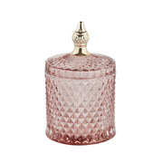 Pale Pink & Gold Glass Jar