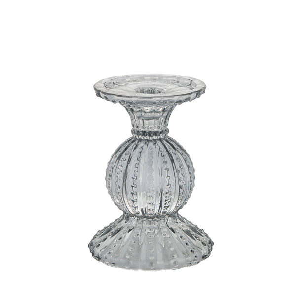 Grey Pressed Glass Miya Candlestick