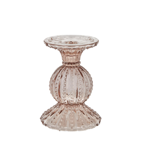 Pink Pressed Glass Miya Candlestick