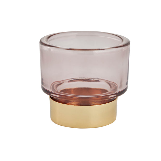 Misty Rose And Gold Tealight Holder