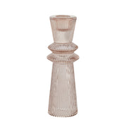 Pale Pink Fluted Glass Candle Stick