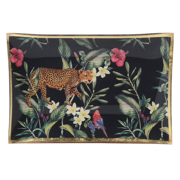 Leopard And Hibiscus Glass Trinket Tray