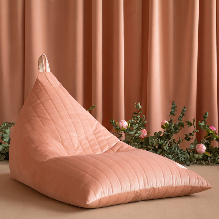 Bloom Pink Velvet Beanbag - By Nobodinoz