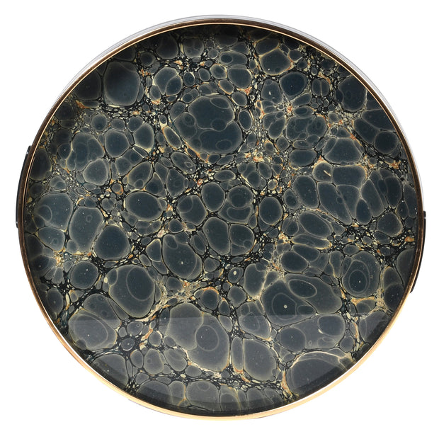 Indigo Blue and Gold Mottled Effect Tray