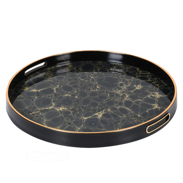 Dark Indigo and Gold Mottled Effect Tray