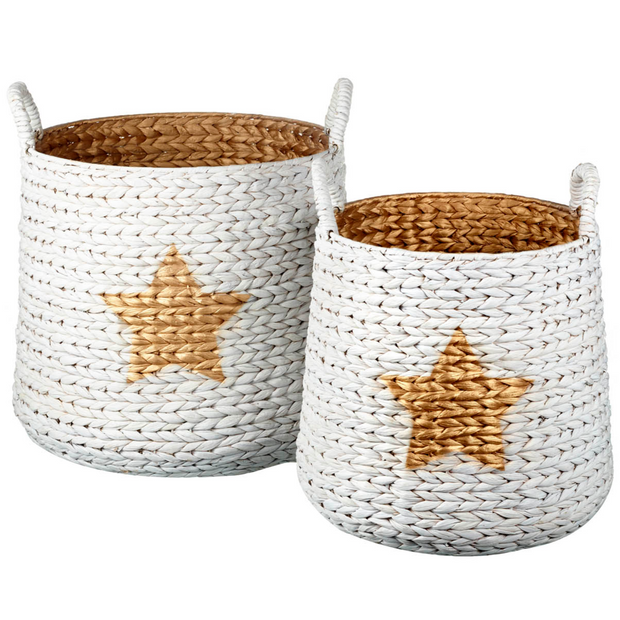 Gold Rattan Star Storage Baskets