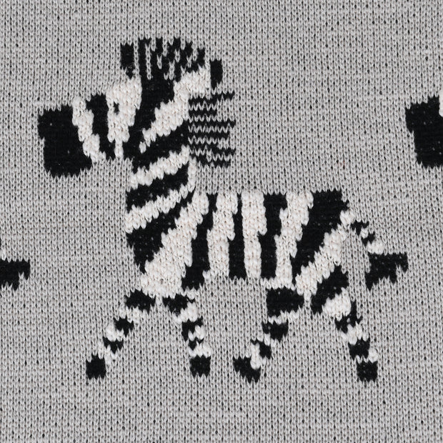 Grey Zebra Knitted Throw