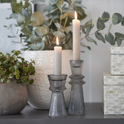 Grey Fluted Glass Candle Stick