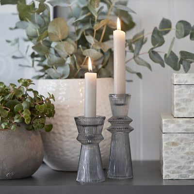 Grey Fluted Glass Candle Stick - PRE ORDER
