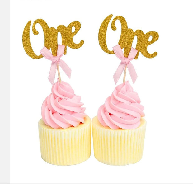 Number ' One' Gold Cake Toppers