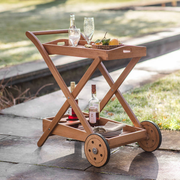 Oslo Eucalyptus Wood Drinks Trolley - PRE ORDER