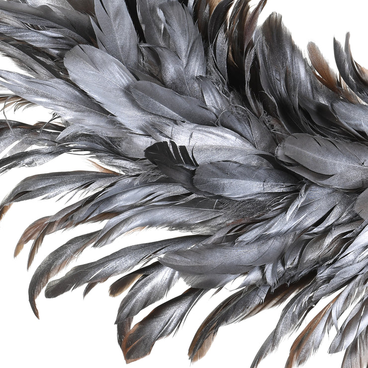 Silver Feather Christmas Wreath