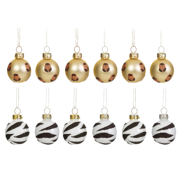 Twelve Animal Print Mini Baubles