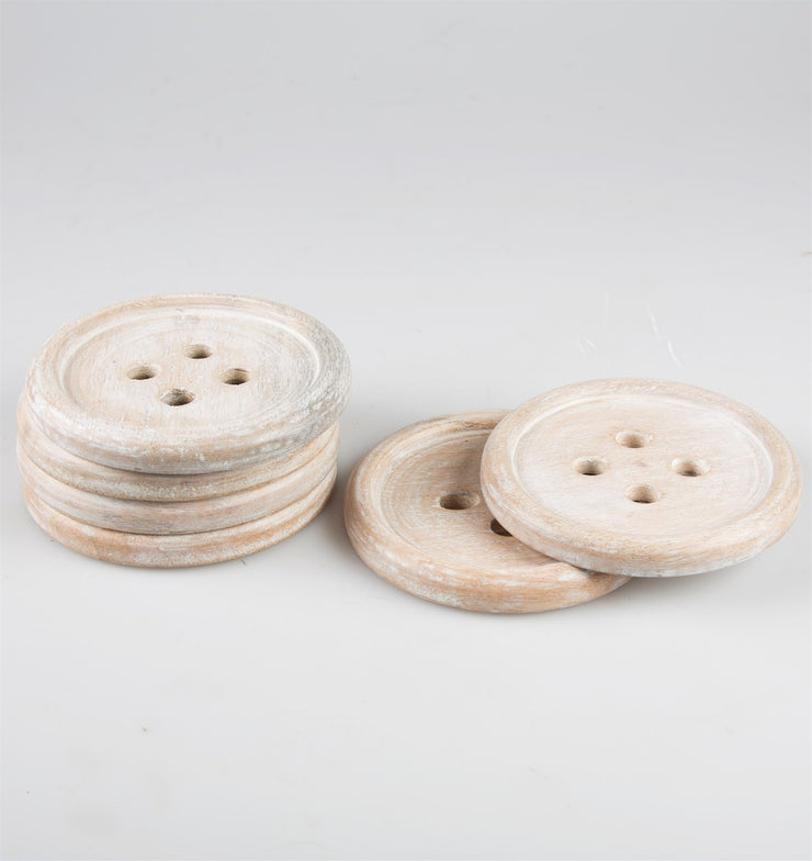 Six Wooden Button Coasters