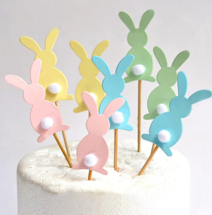 Set Of Five Pastel Bunny Picks
