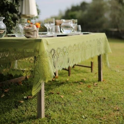 Tuscany Crochet Lace Vinyl Tablecloth / Green