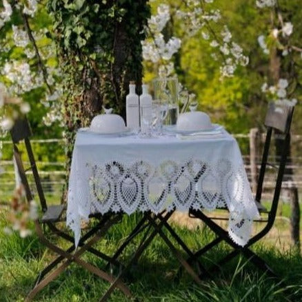 Tuscany Bistro Lace Vinyl Tablecloth / Cream