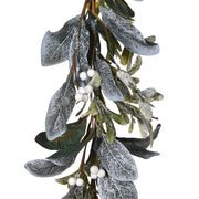 Frosted Laurel And Mistletoe Garland