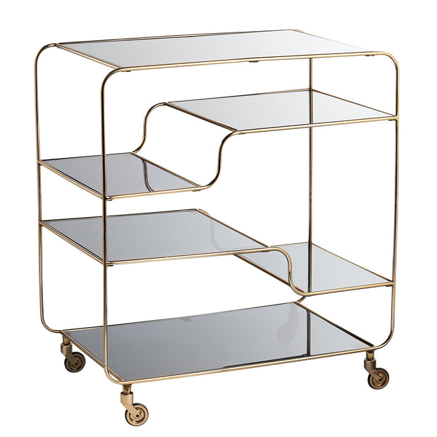 Gold & Smoked Grey Glass Bar Cart - PRE ORDER