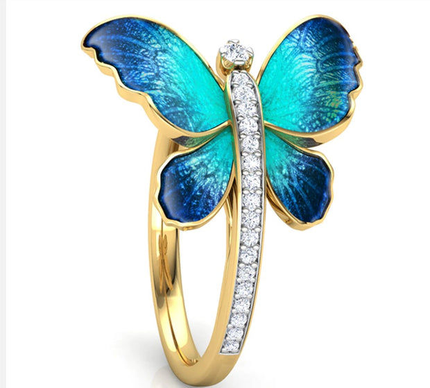 Butterfly Ring In Tortoise Gift Box