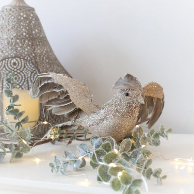 Large Taupe Glitter Clip On Bird Decoration
