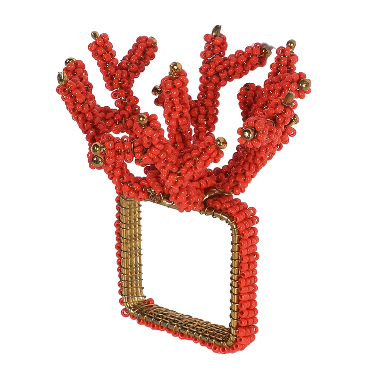 Red Coral Beaded Napkin Ring