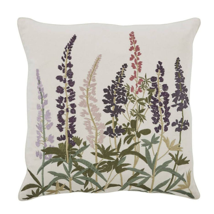 Hand Embroidered Meadow Flower Linen Cushion
