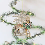 Set of Four Gold Glitter Palm Exotic Christmas Decorations