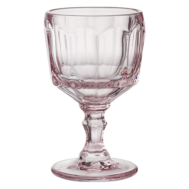 Set Of Two Rose Pink Wine Goblets & Tumblers