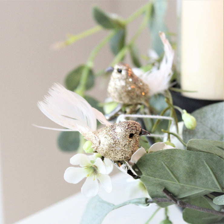 Set Of Four Glitter Clip On Bird Decorations