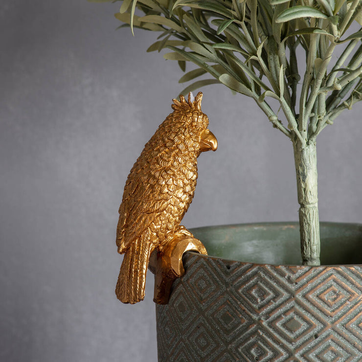 Gold Parrot Pot Hanger Decoration - PRE ORDER