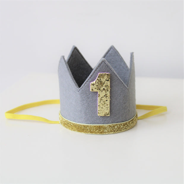 Grey Felt First Birthday Crown