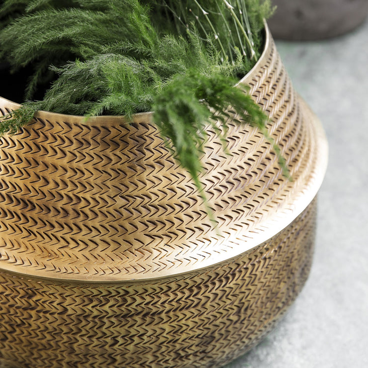 Brass Rattan Effect Planter