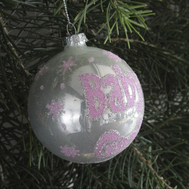 Pink Glitter 'Baby Girl' Bauble