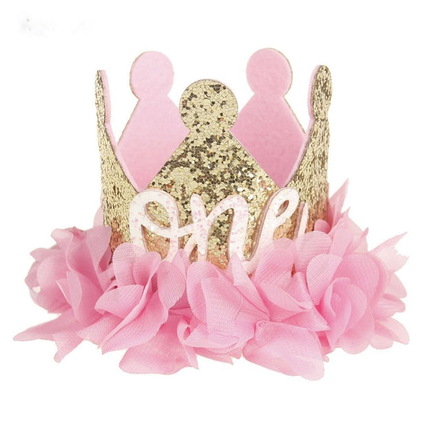 Gold And Pink Second Birthday Crown
