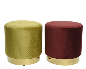 Claret Velvet Stool with brass base