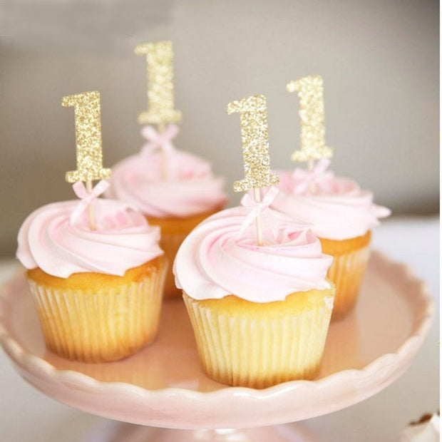 Number 1 Gold Cake Toppers