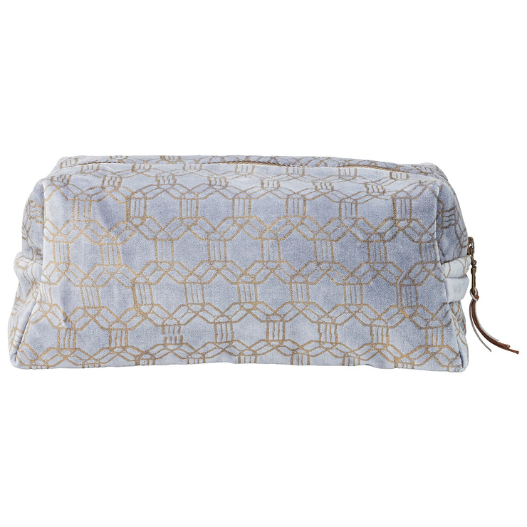 Dusky Blue And Bronze Velour Make-Up Bag