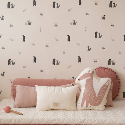 Blush Pink Bear & Fox Wallpaper