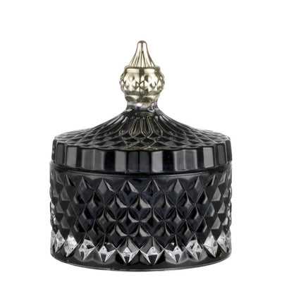 Black & Pale Gold Glass Jar