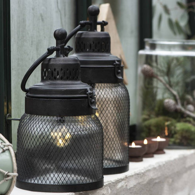 Black Mesh Metal LED Lantern